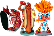 6 Foto Advertising Figures French Fries Hot Dog Lobster Pyramid Of Gifts