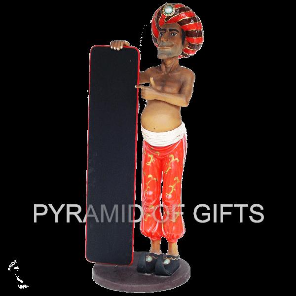 Фото - рекламная, ростовая фигура – Индус, официант с меню - Pyramid Of Gifts