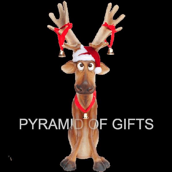 Фото - рекламная, ростовая фигура – Веселый Рождественский олень - Pyramid Of Gifts