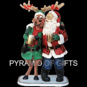 Фото - рекламная, ростовая фигура – Рождественский олень и Санта - Pyramid Of Gifts
