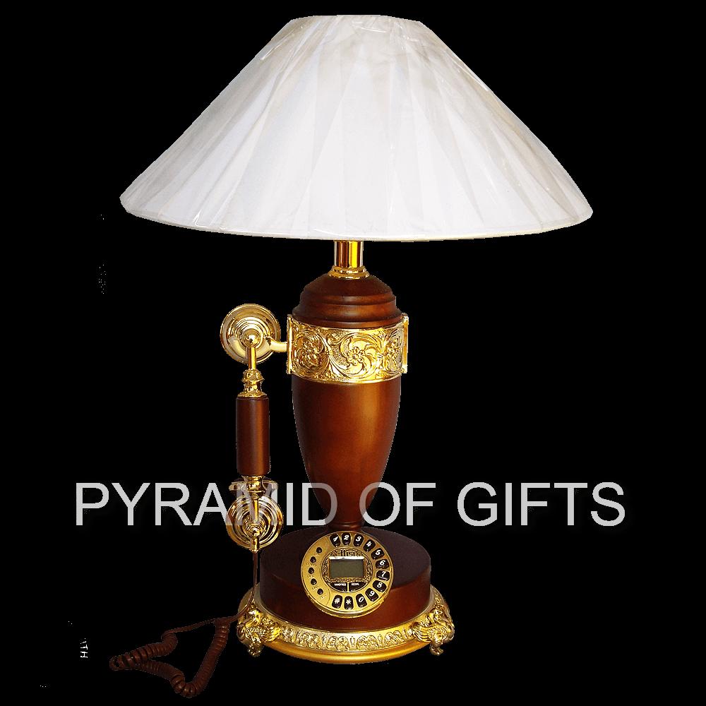 Фото - стационарный, настольный кнопочный телефон лампа - ретро стиля - Pyramid Of Gifts