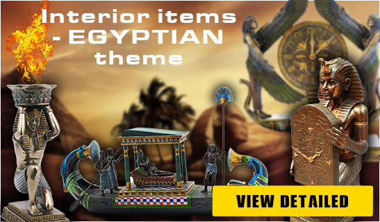 Banner Foto Polymer Figures Clock Egyptian Theme - Pyramid Of Gifts
